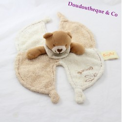 Doudou plat ours BABY NAT collection Bamboo beige marron 32 cm