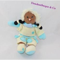 Poupée noire BABY NAT' esquimau poupée de chiffon bleu jaune 23 cm