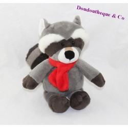 Peluche raton laveur FERRERO KINDER écharpe rouge gris 23 cm