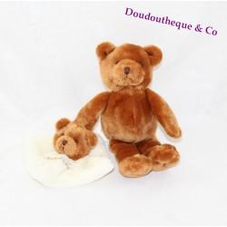 Doudou ours BABY NAT' marron avec son doudou mouchoir 20 cm