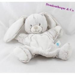 Doudou marionnette lapin TEX BABY beige blanc poils longs Carrefour 26 cm