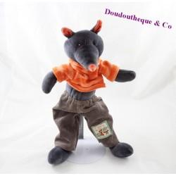 Doudou Igor loup MOULIN ROTY La grande famille pull orange pantalon gris 33 cm