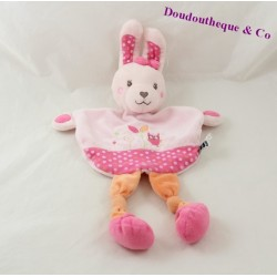 Doudou rabbit flat TEX BABY Carrefour pink OWL tree 29 cm