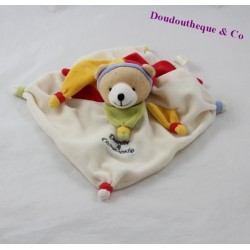 Doudou plat ours DOUDOU ET COMPAGNIE Arlequin pétales jaune rouge 20 cm