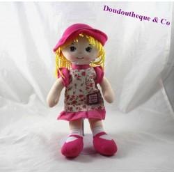 Peluche poupée chiffon HISTOIRE D'OURS Poupée élégante blonde chapeau rose HO2226 32 cm