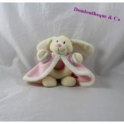 Hochet lapin POMMETTE Intermarché cape rose chien beige grelot 15 cm