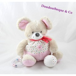 Awakening stuffed mouse words children's pink star Leclerc 20 cm