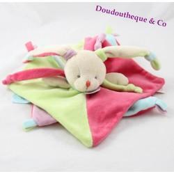 Doudou rabbit flat BABY NAT' gluttony green blue pink 28 cm