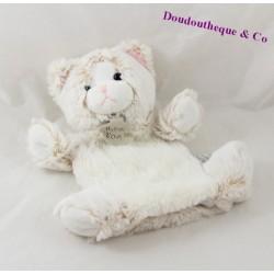Doudou marionnette chat HISTOIRE D'OURS Z'animoos beige blanc HO2135 24 cm