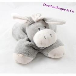 Plush donkey NATTOU gray white cappuccino doudou 20 cm