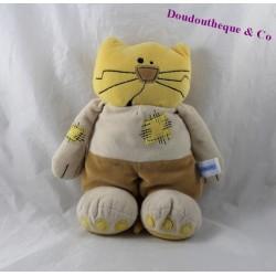 Peluche chat NOUNOURS jaune rapiécé 25 cm
