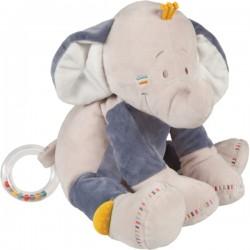 Peluche d'activités Bao éléphant NOUKIE'S Bao & Wapi bleu beige 30 cm