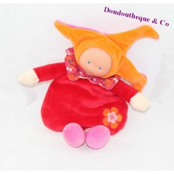 Doudou lutin COROLLE Mademoiselle Grenadine rouge orange poupée 25 cm