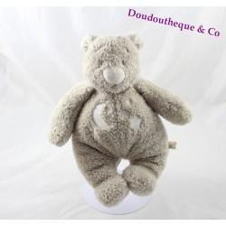 Doudou ours NOUKIE'S Sweet Dream gris motif lune et étoiles 24 cm