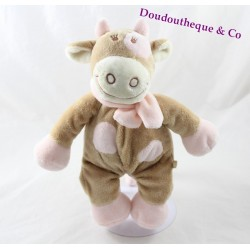 Plush cow Lola NOUKIE's beige scarf pink embroidered 26 cm black eye