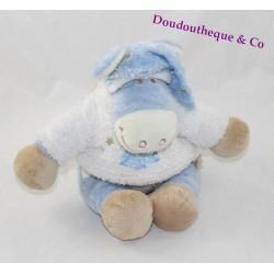 Peluche Paco âne NOUKIE'S bleu blanc sapin bleu bonnet 24 cm