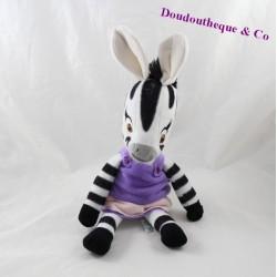 Peluche zèbre Famosa Zou série animé Elzée robe violette 32 cm