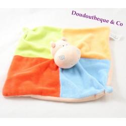 Doudou plat hippopotame ZEEMAN carré vert bleu jaune rouge orange
