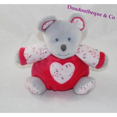 Doudou souris OBAIBI rose gris coeur forme boule étoile 22 cm