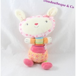 Doudou rabbit COROLLA flowery orange pink green blue 24 cm