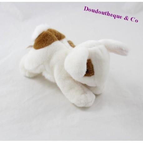Doudou lapin HISTOIRE D'OURS allongé sur le ventre blanc tâches marrons 16 cm