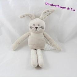 Doudou lapin KIMBALOO beige blanc 27 cm