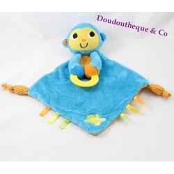 Flat Doudou monkey BRUIN TOYS 'R' US blue banana teether Bell