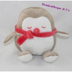 Doudou pingouin OBAIBI hibou chouette beige écharpe rose 20 cm