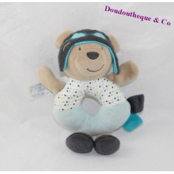 Bear rattle SAUTHON Oscar Brown Blue Aviator Baby Deco 28 cm