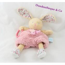 Plush puppet activities rabbit BABY NAT' flowery pink beige Poupi