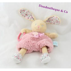 Plush puppet activities rabbit BABY NAT' flowery pink beige Poupi