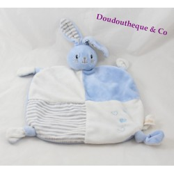 Doudou flat rabbit blue white DODIE my blankie of love hearts