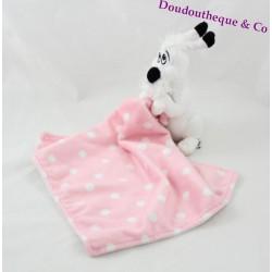 Doudou handkerchief dog Dogmatix ASTERIX Park White Pink pea 40 cm