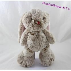 Doudou lapin KALOO Je suis un Rouge Kaloo beige nez rose 30 cm