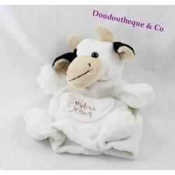 Doudou marionnette vache HISTOIRE D'OURS noir et blanc 25 cm