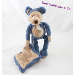 Peluche souris HISTOIRE D'OURS Les Tilalous souris bleu avec mouchoir