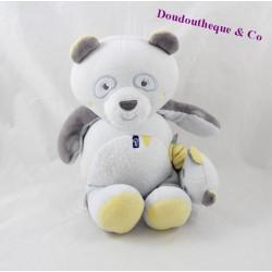 Peluche musicale panda SUCRE D'ORGE bleu gris 22 cm