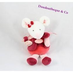 Doudou hochet Clémentine souris DOUDOU ET COMPAGNIE rouge rose DC2613