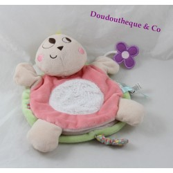 Doudou marionnette tortue KALOO Nopnop rose vert 23 cm