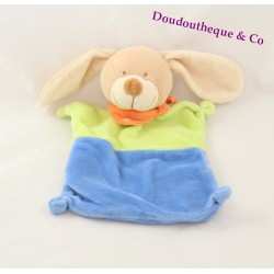 Doudou plat chien NICOTOY vert bleu bandana orange 20 cm