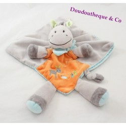 Doudou flat donkey Zebra green orange grey NICOTOY striped horse embroidered bunnies
