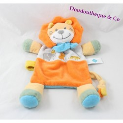 Doudou plat lion TEX BABY orange foulard bleu Carrefour 28 cm
