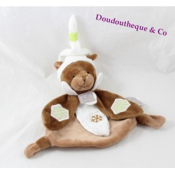 Flat Doudou Groundhog story of bear HO Studio brown white snowflakes