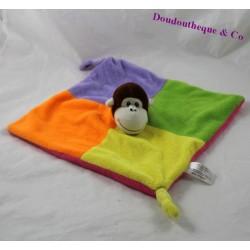 Doudou plat singe ZEEMAN carré vert violet jaune orange 25 cm