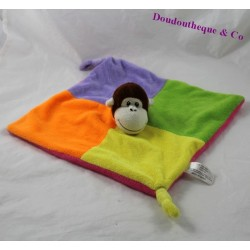 Flat Doudou monkey ZEEMAN square yellow purple green orange 25 cm
