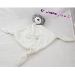 Doudou flat bear Carreblanc square white horse rocking 43 cm Green