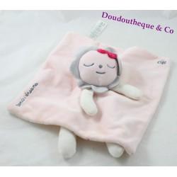 Doudou plat lion OBAIBI Tender dreams rose gris pois 24 cm