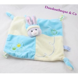 Doudou flat rabbit GIPSY Apple blue beige square 2 knots 25 cm