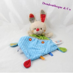 Doudou rabbit flat OUATOO green orange love Rhombus 30 cm