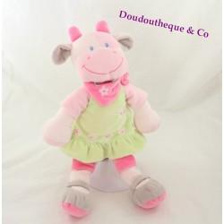 Doudou vache NICOTOY robe verte bandana rose 35 cm